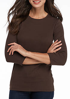 Kim Rogers Ribbed Solid Knit Top