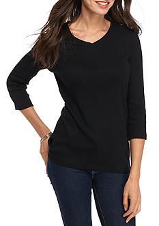 Kim Rogers Three-Quarter Sleeve Rib V-Neck Basic Solid Top
