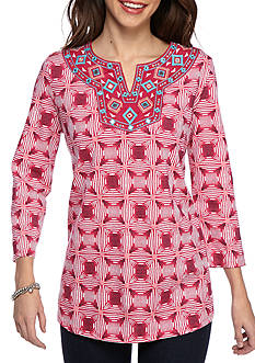 Kim Rogers 3/4 Sleeve Popover With Embroidered Neckline