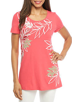 Kim Rogers Short Sleeve Tropical Top