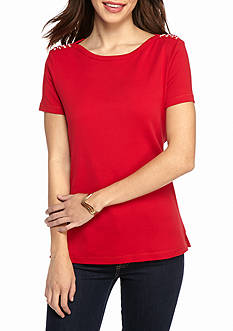 Kim Rogers Short Sleeve Lace Up Shoulder Top