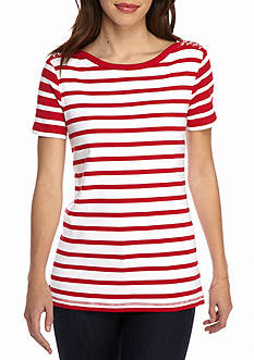 Kim Rogers Short Sleeve Lace Up Shoulder Stripe Top