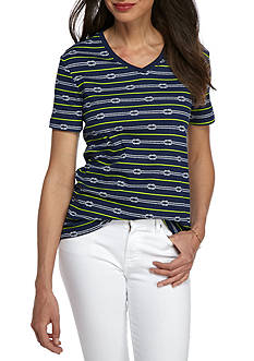 Kim Rogers Short Sleeve Interlock V-Neck Rope Top