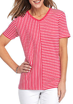 Kim Rogers Short Sleeve Interlock V-Neck Stripe Top