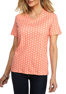 Kim Rogers Short Sleeve Interlock V-Neckline Shell Top
