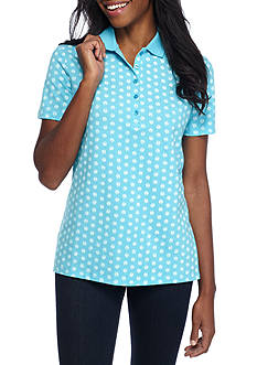 Kim Rogers Short Sleeve Polo Shell Print Top