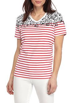 Kim Rogers Short Sleeve V-Neck Printed Tee