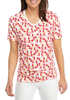 Kim Rogers Short Sleeve V-Neck Square Pattern Tee