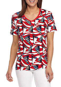Kim Rogers Short Sleeve V-Neck Sailing Print Top