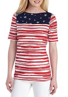 Kim Rogers Stars & Stripes Button Shoulder Tee