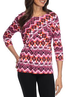Kim Rogers Three Quarter Criss-Cross Scoop Neck Shirt