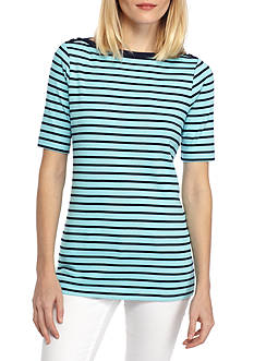 Kim Rogers Elbow Boat Neck Striped Tee