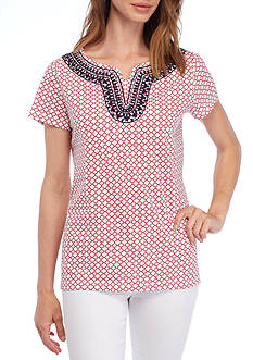 Kim Rogers® Printed Short Sleeve Split Neck Top