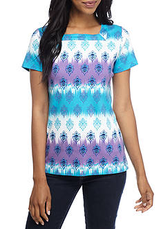 Kim Rogers® Short Sleeve Square Ombre Ikat Top