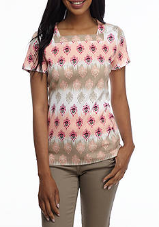 Kim Rogers Short Sleeve Square Ombre Ikat Top