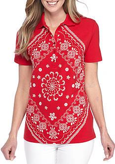 Kim Rogers Short Sleeve Bandanna Print Polo