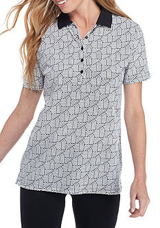 Kim Rogers Short Sleeve Pique Polo Graphic Top
