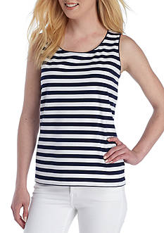 Kim Rogers Scoop Neck Striped Tank