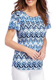Kim Rogers Flutter Chevron Texture Shirt