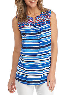 Kim Rogers Sleeveless Popover Stripe Top