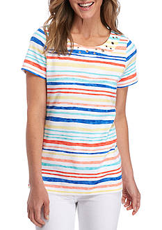 Kim Rogers Short Sleeve Grommet Neck Striped Tee