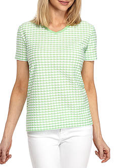 Kim Rogers Short Sleeve V-Neck Texture Top