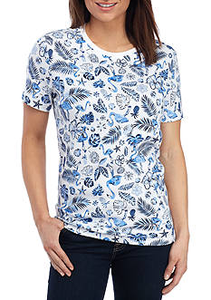 Kim Rogers Short Sleeve Flamingo Scene Top