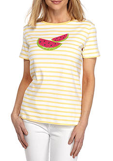 Kim Rogers Short Sleeve Crew Watermelon Top