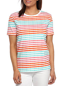 Kim Rogers Striped Short Sleeve Crew Neck Tee