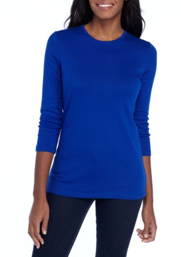 Ribbed Crew Neck Solid Top