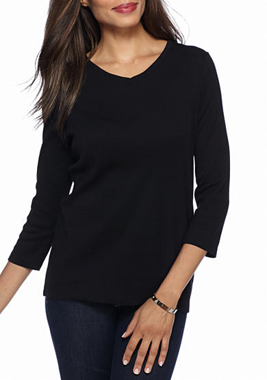 Kim Rogers® Ribbed V-Neck Basic Solid Knit Top