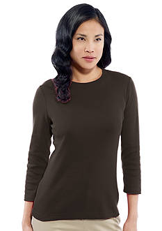 Kim Rogers® Ribbed Crew Basic Solid Knit Top