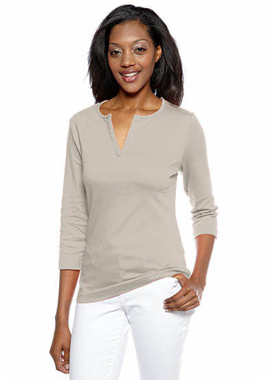 Kim Rogers® Split Neck Three-Quarter Sleeve Tee