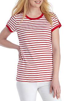 Kim Rogers Short Sleeve Striped Button Tee