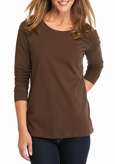 Kim Rogers® Long Sleeve Solid Scoop Neck Top