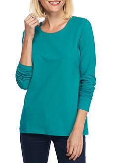 Kim Rogers Long Sleeve Solid Scoop Neck Top
