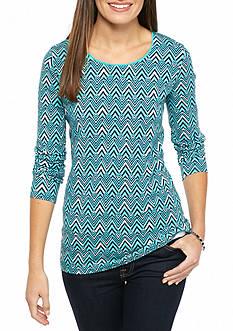 Kim Rogers Chevron Printed Long Sleeve Top
