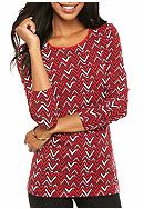 Kim Rogers® Chevron Printed Long Sleeve Top