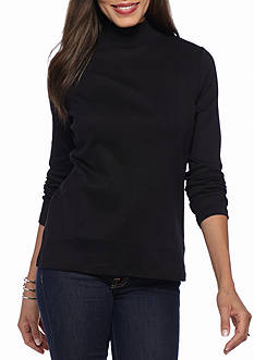 Kim Rogers Ribbed Mock Neck Knit Top