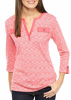 Kim Rogers Three Quarter Sleeve Pocketed Henley Top
