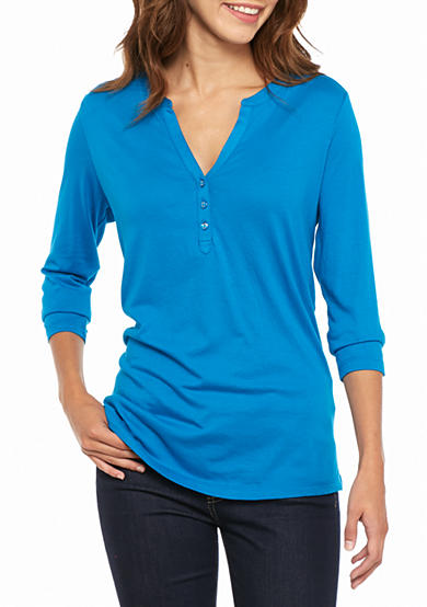 Kim Rogers® Three Quarter Sleeve Henley Top
