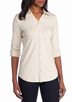 Kim Rogers® Roll Sleeve Button Front Solid Top