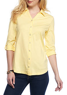 Kim Rogers Roll Sleeve Button Front Solid Top