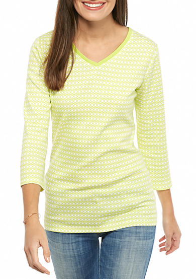 Kim Rogers® Three Quarter Sleeve Rib Knit V-Neck Top
