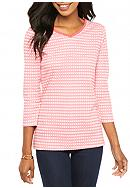 Kim Rogers® Three Quarter Sleeve Rib Knit