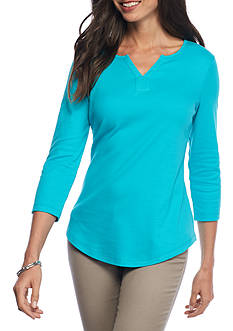 Kim Rogers 3/4 Sleeve Split Neck Knit Top