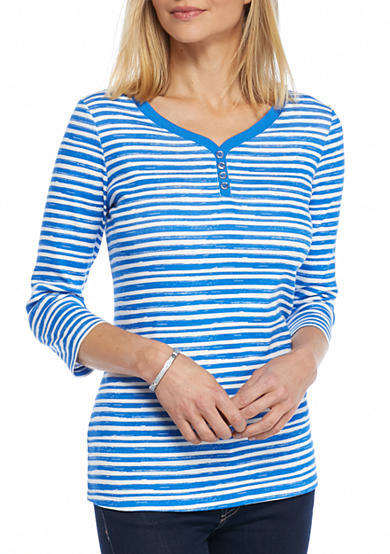 Kim Rogers® Three Quarter Sleeve Striped Sweetheart Neck Top