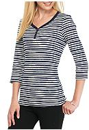 Kim Rogers® Three Quarter Sleeve Striped
