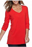 Kim Rogers® V-Neck Solid Swing Knit Top