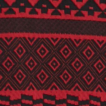 Kim Rogers Women Sale: Red/Black Kim Rogers Long Sleeve Aztec Stripe Jacquard Cardigan